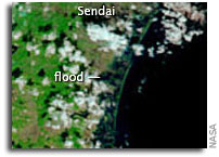 NASA Terra Images: Flooding from Tsunami near Sendai, Japan