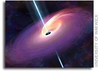 Black hole kills star and blasts 3.8 billion light year beam at Earth