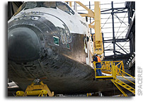 Photo:  Space Shuttle Atlantis Being Prepared for Mating