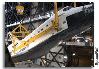 Lifting of Atlantis From Horizontal to Vertical in the KSC Vehicle Assembly Building