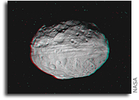 Dawn Soars Over Asteroid Vesta in 3-D