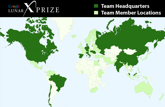 Google Lunar X PRIZE map of teams