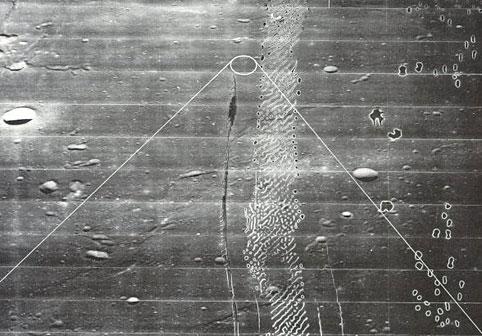 A photo of an oblique view of where Apollo 11 landing module descended