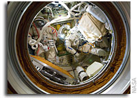 Photo: ISS Crew in Orlan Spacesuits inside Pirs  Docking Compartment