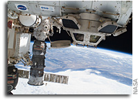 Photo: International Space Station: Soyuz, Progress, Columbus, and Cupola Over The Coast of California