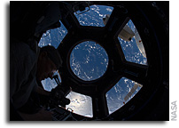 Photo: Using a Camera in the Cupola of the International Space Station