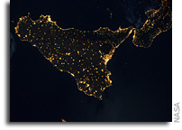 Photo: Sicily As Seen at Night From The International Space Station