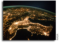 Photo: Central and Eastern Europe As Seen at Night From the International Space Station