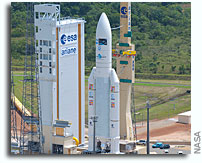 Photo: Ariane V On Launch Pad Ready To Put Kepler ATV Into Orbit