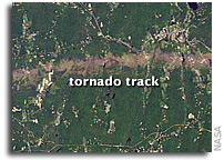 Photo: Tornado Track near Sturbridge, Massachusetts As Seen From Orbit