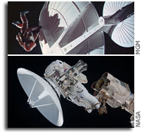 Photos: Fixing Antennas in Space - Today and in a Past Future
