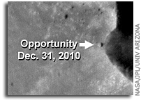 Photo: Opportunity Rover at Santa Maria Crater As Seen From Mars Orbit