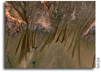 NASA Spacecraft Data Suggest Water Flowing on Mars