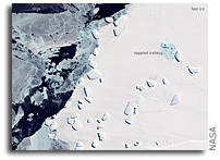 Image: Sea Ice and Icebergs Off East Antarctica As Seen From Space