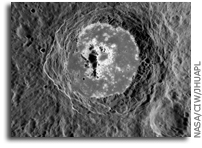 NASA MESSENGER Image of Mercury: Hollows Within an Impact Crater