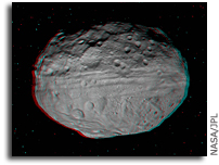 3-D Image of Asteroid Vesta's Eastern Hemisphere