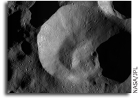 Image: Impact crater on Asteroid Vesta with an unusual rim