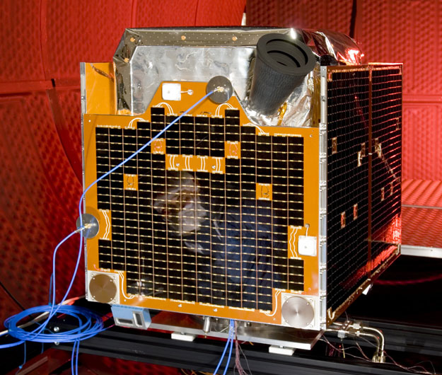 One of five RapidEye spacecraft undergoing tests.