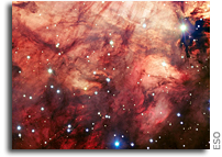 The Smoky Pink Core of the Omega Nebula