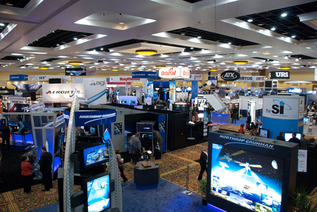 Some of the 165 exhibitors in the Ball Aerospace sponsored main exhibit hall.
