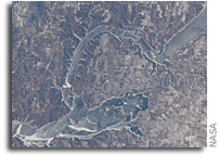Photo: Ice cover on Lake Sakakawea in North Dakota As Seen From The Space Station