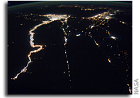 Image: The Nile and the Mediterranean Sea at Night As Seen From Space