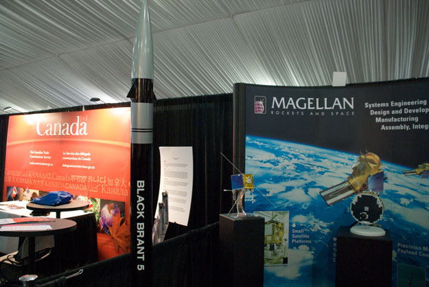 The Canada and Magellan Aerospace booths side by side.