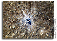 NASA MESSENGER Image of Mercury: Young Crater With Bright Rays