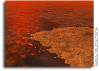 Blocks of Hydrocarbon Floating on Titan's Lakes?