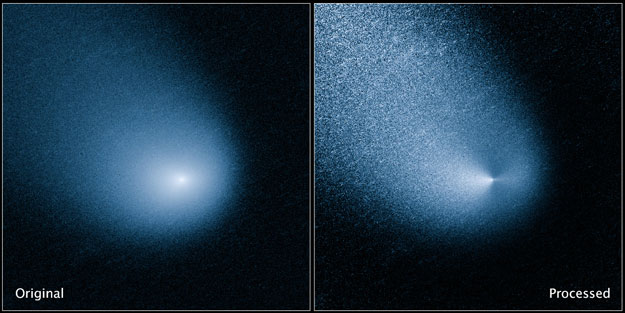 The images above show -- before and after filtering -- comet C/2013 A1