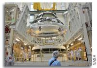 Lockheed Martin Stacks the Orion Crew Module on the Service Module