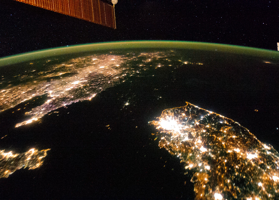 North and South Korea Seen at Night From Orbit - SpaceRef