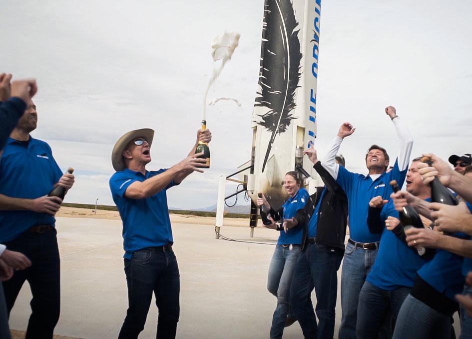 'Blue Origin Completes Historic First Reusable Suborbital Flight' from the web at 'http://images.spaceref.com/news/2015/04_blue_origin_finalcelebration_112315_945.jpg'
