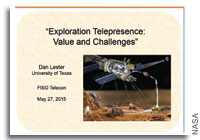 NASA FISO Presentation: Exploration Telepresence: Value and Challenges