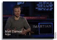 Matt Damon at NASA's Mars Mission Control Center