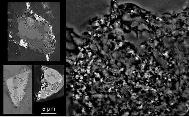 Three larger rocks, each containing several crystals, from comet Wild 2 are shown on the left of this image in cross-section, as imaged by an electron microscope. Fine-grained dust from the comet, still embedded in the aerogel it was captured in, is shown at right. All images are at the same scale; 5 micrometer scale bar is shown. Larger image