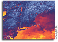 Thermal Satellite Imagery Shows Variations Across Northeastern United States