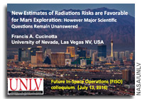 NASA FISO Presentation: New Estimates of Space Radiation Risks are Favorable for Human Exploration of Mars