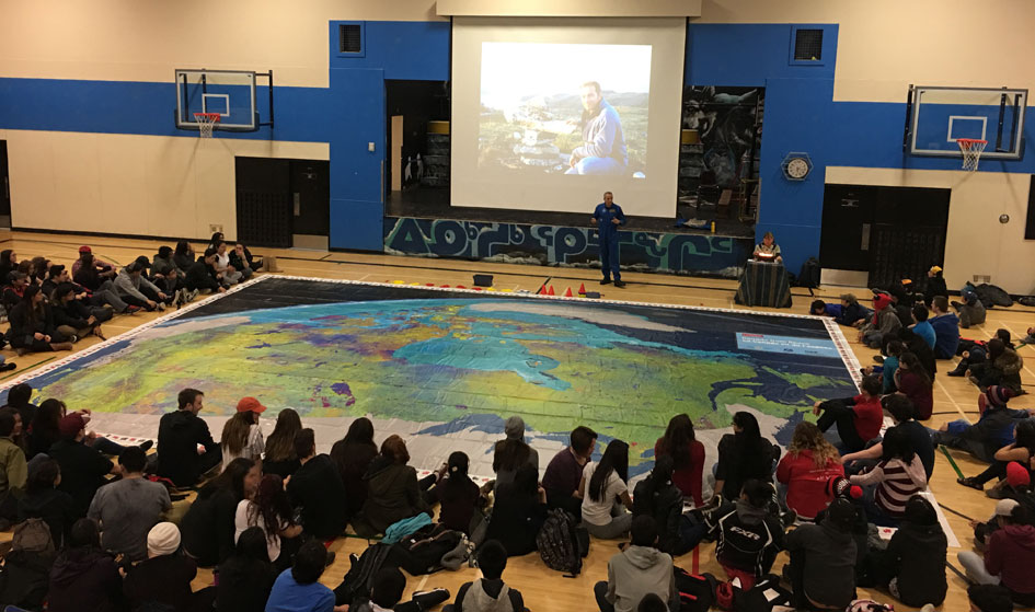Iqaluit High School the Latest to Receive Canada from Space Giant Floor Map