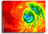 Copernicus Sentinel-3A Temperature Imagery of Hurricane Matthew