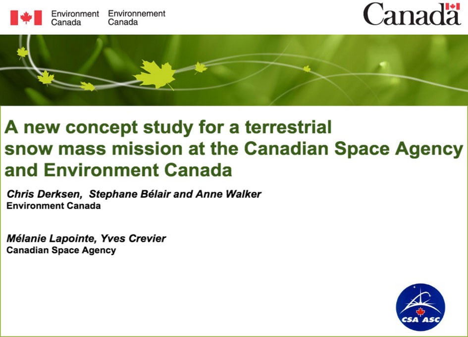 Canadian Space Agency Issues RFP for a Terrestrial Snow Mass Mission Concept Study