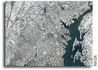 Snow Covered Washington DC Metro Area Seen From Space
