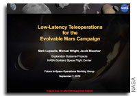 NASA FISO Presentation: Low-Latency Teleoperations for the Evolvable Mars Campaign