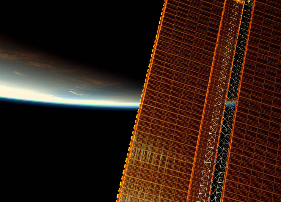 Orbital Sunrise With Solar Array