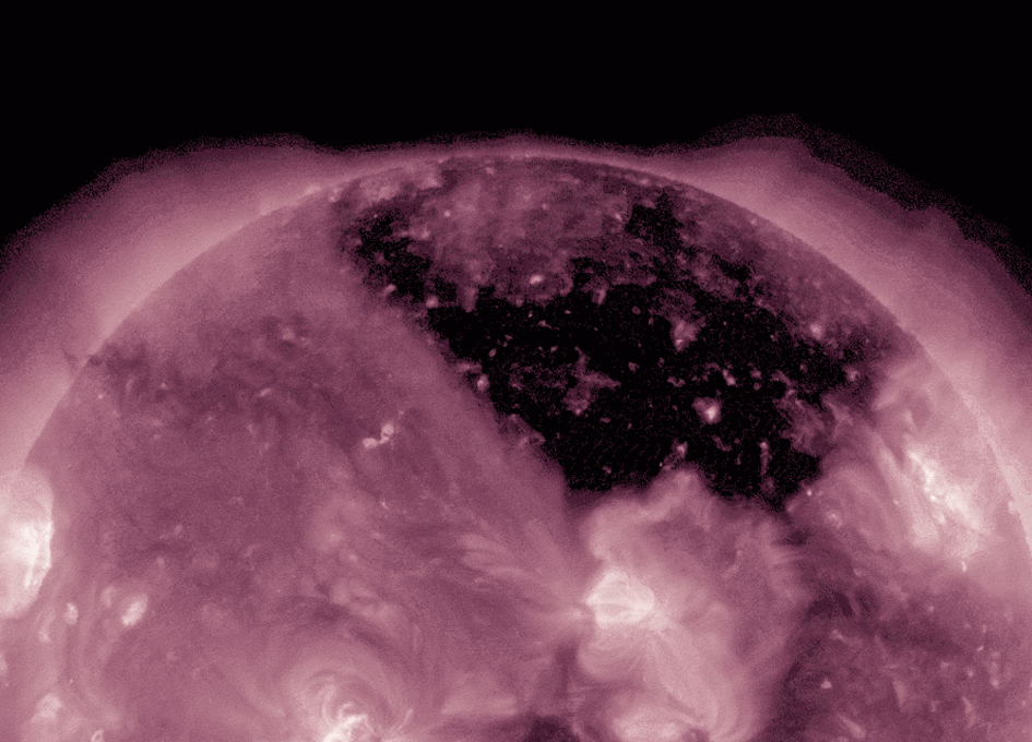 SDO Peers Into Huge Coronal Hole