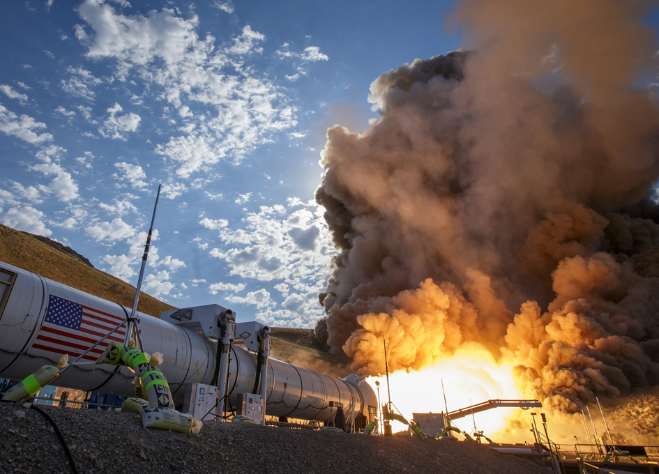 NASA's Test Fires Space Launch System Solid Booster