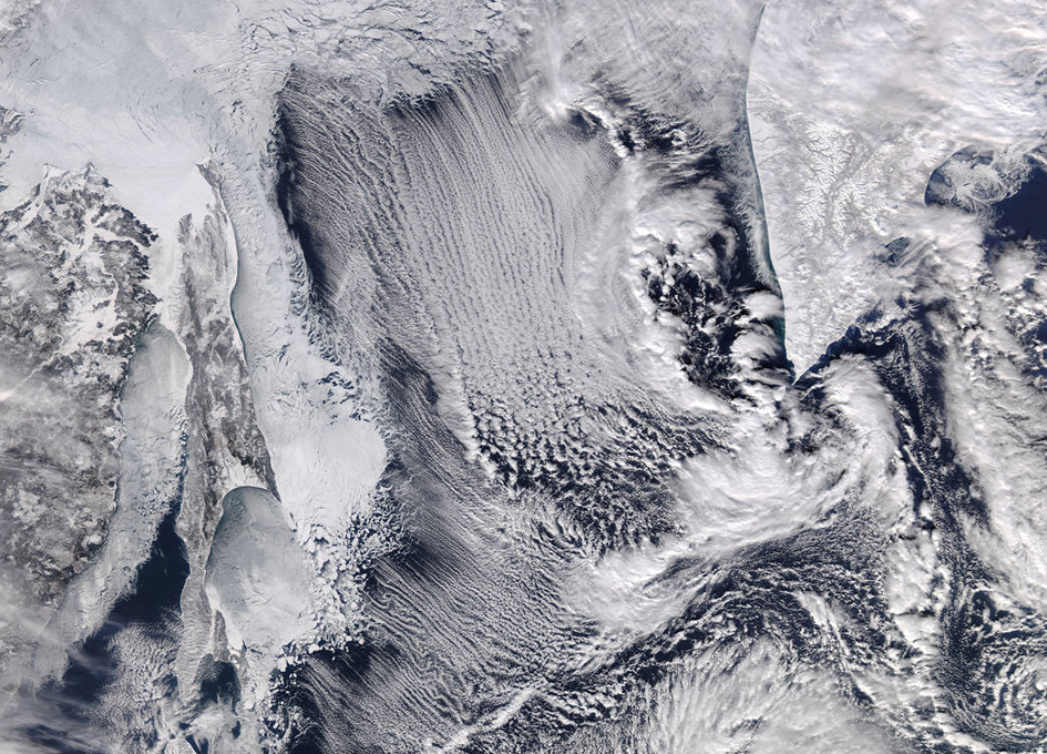 Orbital View of Sea Ice and Cloud Streets in the Sea of Okhotsk