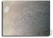Juno Image Of A String of Jovian Storms