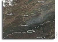 Orbital View Of Smoky Mountain Fires