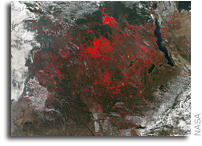 Orbital View As Fires Cover Central Africa